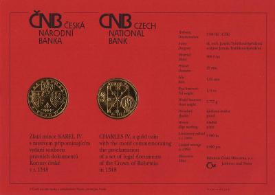 Certifikát Karel IV. 2500 Kč 1999 PROOF - od 1 Kč !!!