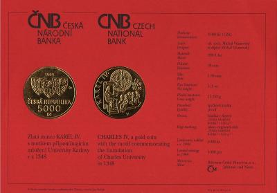 Certifikát Karel IV. 5000 Kč 1999 PROOF