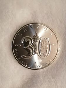 Stříbrná investiční mince Maple Leaf 30th Anniversary (1988-2018)