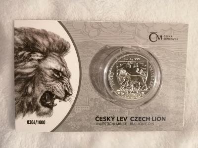 Stříbrná investiční mince 1 oz Český lev 2020, číslovaná