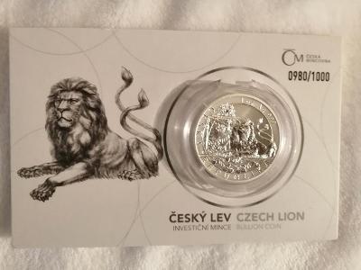Stříbrná investiční mince 1oz Český lev 2019, reverse proof, číslovaná
