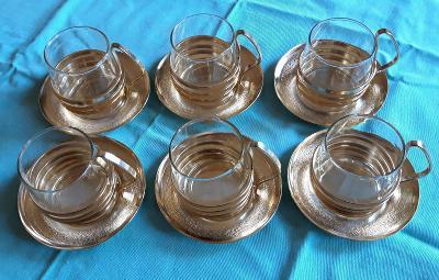 skleničky na čaj či kávu, retro styl