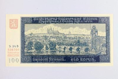 PROTEKTORÁT // 100 K 1940 s. 34 B I. vydání / SPECIMEN /25 UNC