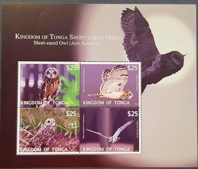 Tonga 2012, fauna - sovy, 1ks aršík, katalog. cena 100 Euro!