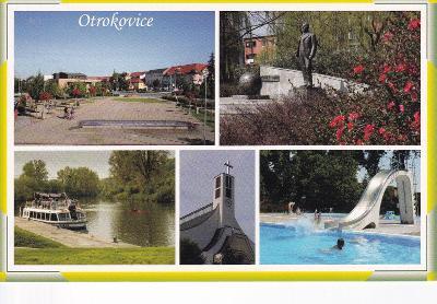 Otrokovice-o.Zlín-náměstí-socha T.Bati-loď-koupaliště-kostel--VF