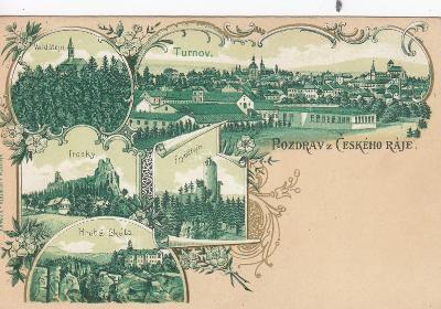 Český Ráj - Turnov, Trosky, Hrubá Skála, Valdštejn, litografie