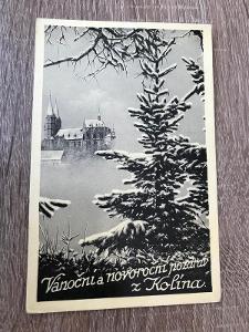 Pohled- Kolín. vánoční pozdrav z Kolína - 1935
