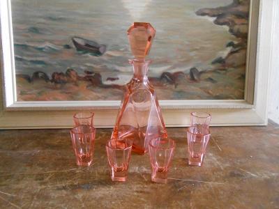 ART DECO skleněná karafa 6 odlívek značková porcelánka luxus stav