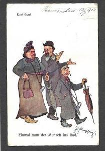 Karlovy Vary, Judaika, humor, signovaná ca1910