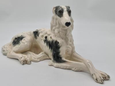 Velká porcelánová socha, figurka Pes Austria