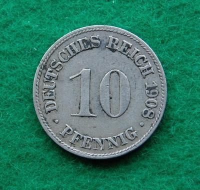 Německo - 10 pfennig 1908 D