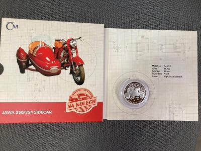Stříbrná mince Na kolech- JAWA 350/354 sidecar proof