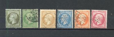 FRANCIE 1862  YVERT  19 - 24  RAZÍTKOVANÁ
