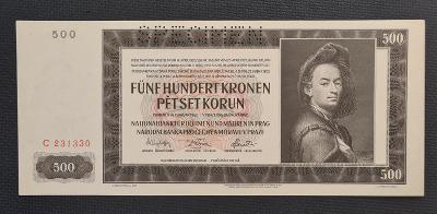 500 Koruna 1942, Vzácná Jednopísmenná Série C !!! TOP Stav