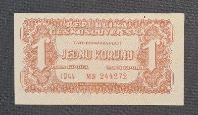1 Koruna 1944, Neperforovaná, TOP Stav !!!