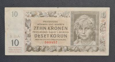 10 Koruna 1942, Vzácná Série A 21 !!!
