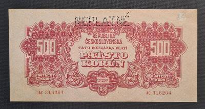 500 Koruna 1944, NEPLATNÉ !!! TOP Stav