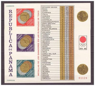 """Panama 1965 """"Summer Olympic Games 1964 - Tokyo (Medals)"""" Michel BL31B"""