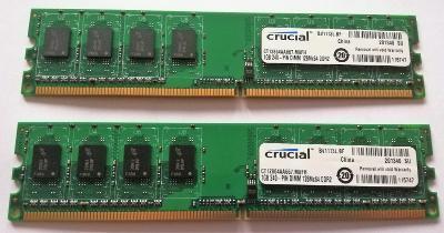 2x 1GB RAM DDR2 PC2-5300 667 MHz Crucial, testované