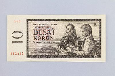 ČESKOSLOVENSKO // 10 Kčs 1960 L 69 / neperf. /68 UNC