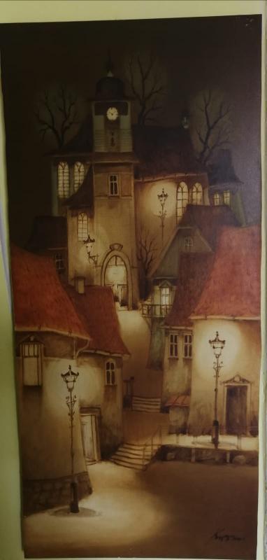 Olejomalba na dřevě od opavskeho malíře Ondřeje Kočára