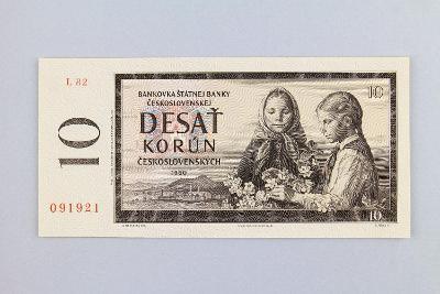 ČESKOSLOVENSKO // 10 Kčs 1960 L 82 / neperf. /70 UNC