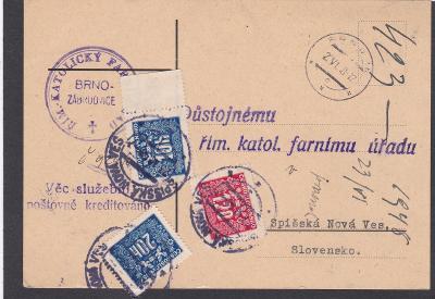 Církevní, farní Zábrdovice, Brno 1948-Slovensko, doplatné Spišská Nová