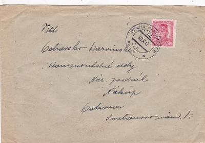 Vlaková pošta 43/a, Praha-Hanušovice 1947 - Ostrava.