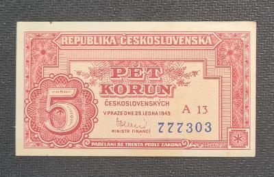 5 Kčs 1949, Vzácná Nízká Série A 13, TOP Stav !!!