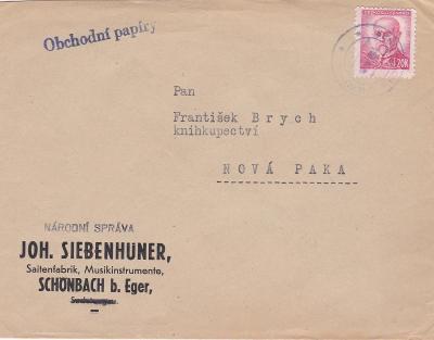 Firemní Luby, Cheb, proviz. razítko asi 1945- Nová Paka (Jičín)