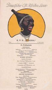 JÍDELNÍ LÍSTEK Z LODI R.P.D. GENERAL - 1913  -5-BX