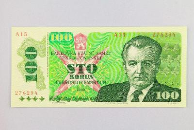 ČESKOSLOVENSKO // 100 Kčs 1989 A 15 / neperf. /81 UNC