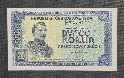 20 Kčs 1945, Neperforovaná, TOP Stav !!!
