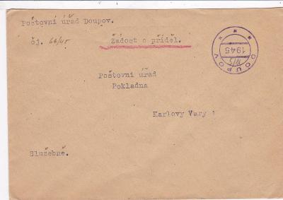 Úřední, pošta Doupov, proviz. razítko 1945 - Karlovy Vary.