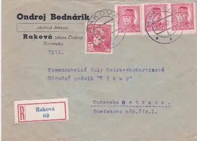 Slovensko, firemní R- Raková 1947 (Čadca) -Moravská Ostrava, bez přích