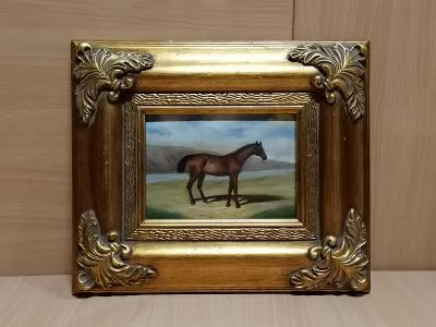 St. obraz olej na dřevě kůň
