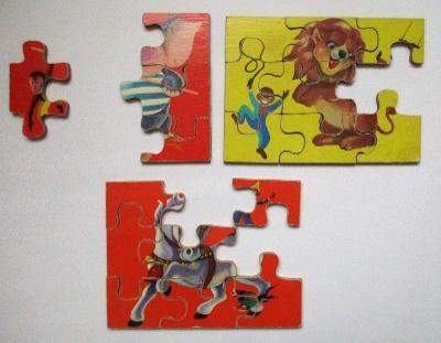 Retro stará obrázková skládačka (puzzle), nekompletní