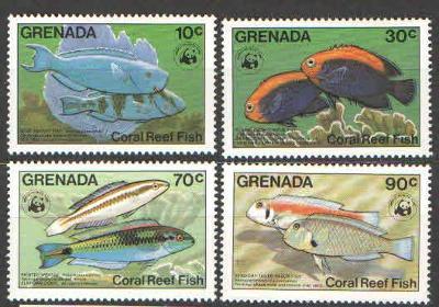 ** 010 GRENADA série WWF ryby 1984