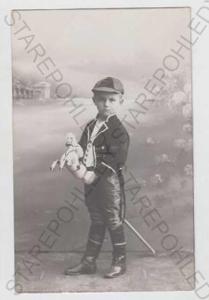 Děti - foto, dítě, uniforma, kůň, hračka