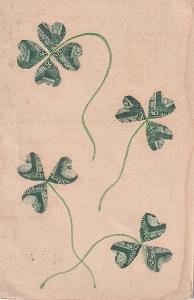 Pohlednice čtyřlístek a trojlístky ze známek s TGM