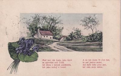 Tlačená pohlednice, Vesnice a báseň
