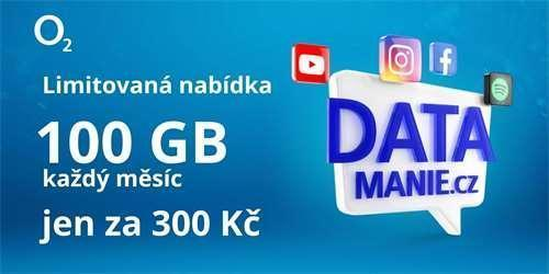SIM karta  100 GB Datamánie O2 za 300 Kč