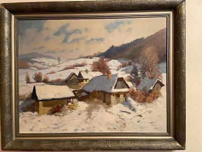 Bohumil Berghauer - Usedlost v zimní krajině - olej
