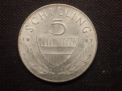 Rakousko 5 Schiling 1967, Ag