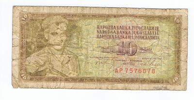 Jugoslávie 10 dinárů 1965