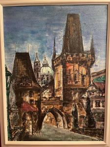 Oldřich Tikal - Malostranské mostecké věže - olej