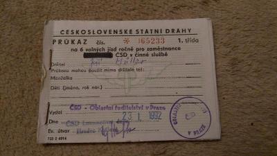 Průkaz na volné jízdy zaměstnanců ČSD  1992  (1. třída)