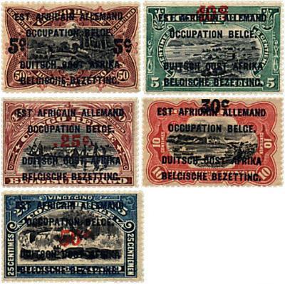 Belgická okupácia Nemeckej východnej Afriky 1922 ** komplet mi. 34-38