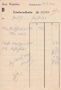 Účet Ant. Korelus, Karlovy Vary 1939