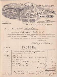 Účet potraviny Kölling a Schmitt, Teplice 1904
